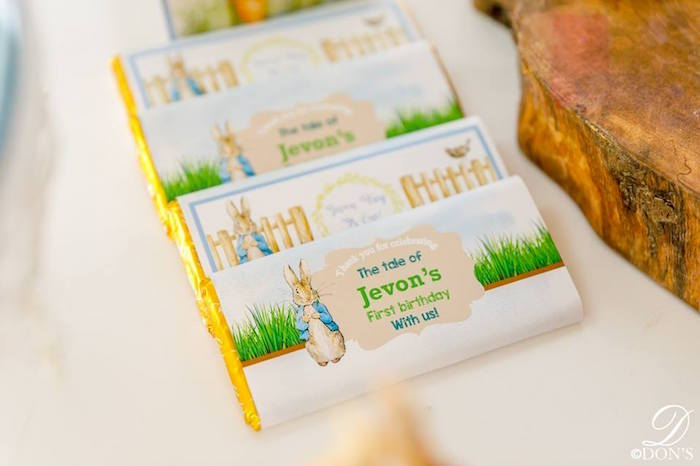 Custom Peter Rabbit Candy Bar Wrappers from a Vintage Peter Rabbit Birthday Party on Kara's Party Ideas | KarasPartyIdeas.com (28)