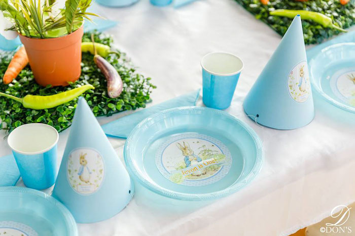 Peter Rabbit Table Settings from a Vintage Peter Rabbit Birthday Party on Kara's Party Ideas | KarasPartyIdeas.com (26)