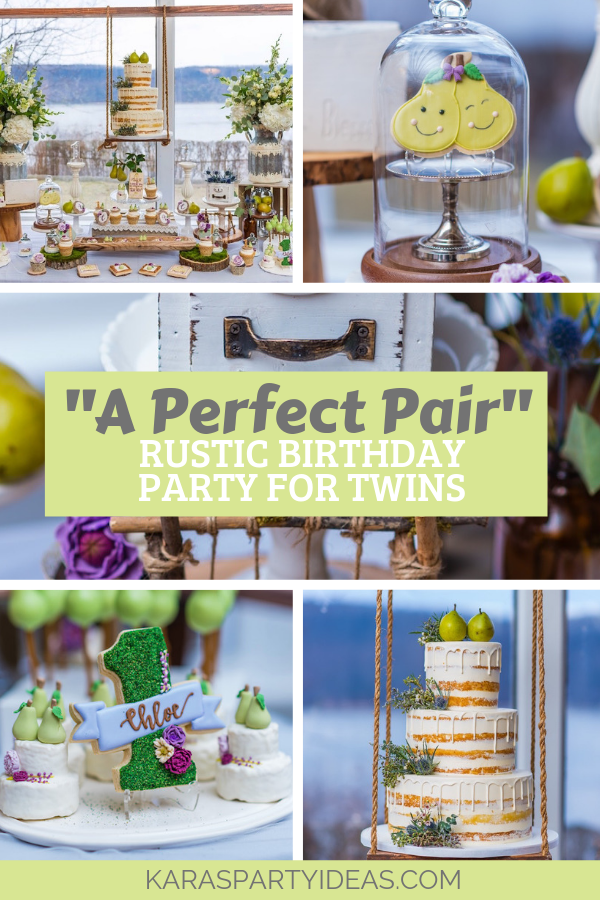 """A Perfect Pair"" Rustic Birthday Party for Twins via Kara's Party Ideas - KarasPartyIdeas.com"