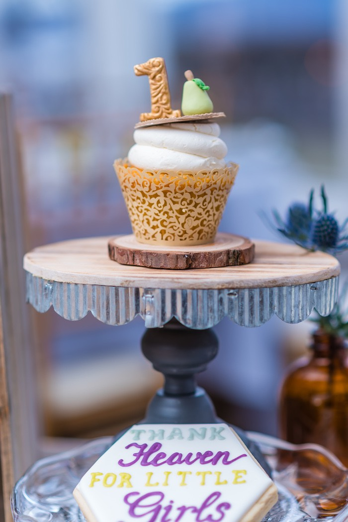 "Pear Cupcake from ""A Perfect Pair"" Rustic Birthday Party for Twins on Kara's Party Ideas 