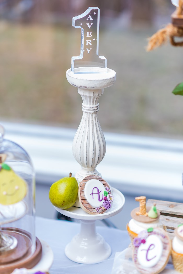 "Acrylic ""1"" + Pedestal Decoration from ""A Perfect Pair"" Rustic Birthday Party for Twins on Kara's Party Ideas 