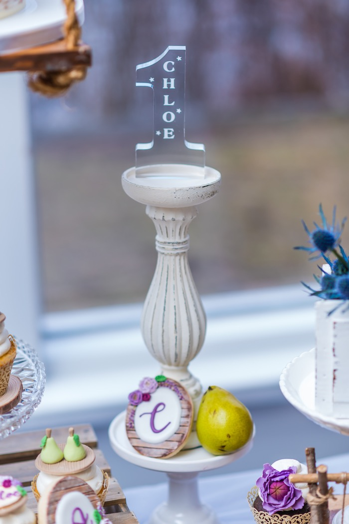 "Highlight Pedestal Decoration from ""A Perfect Pair"" Rustic Birthday Party for Twins on Kara's Party Ideas 