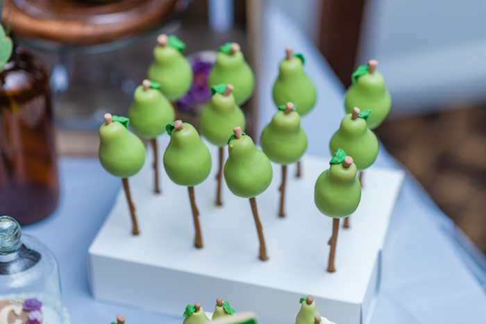 "Pear Cake Pops from ""A Perfect Pair"" Rustic Birthday Party for Twins on Kara's Party Ideas 