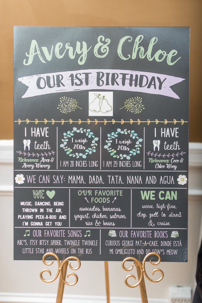 "Milestone + Highlight Board from ""A Perfect Pair"" Rustic Birthday Party for Twins on Kara's Party Ideas 
