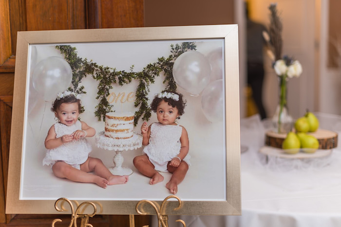 "Twin Portrait from ""A Perfect Pair"" Rustic Birthday Party for Twins on Kara's Party Ideas 