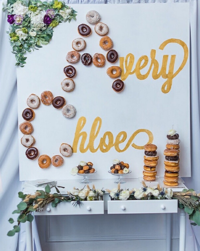 "Name Backdrop Doughnut Board from ""A Perfect Pair"" Rustic Birthday Party for Twins on Kara's Party Ideas 