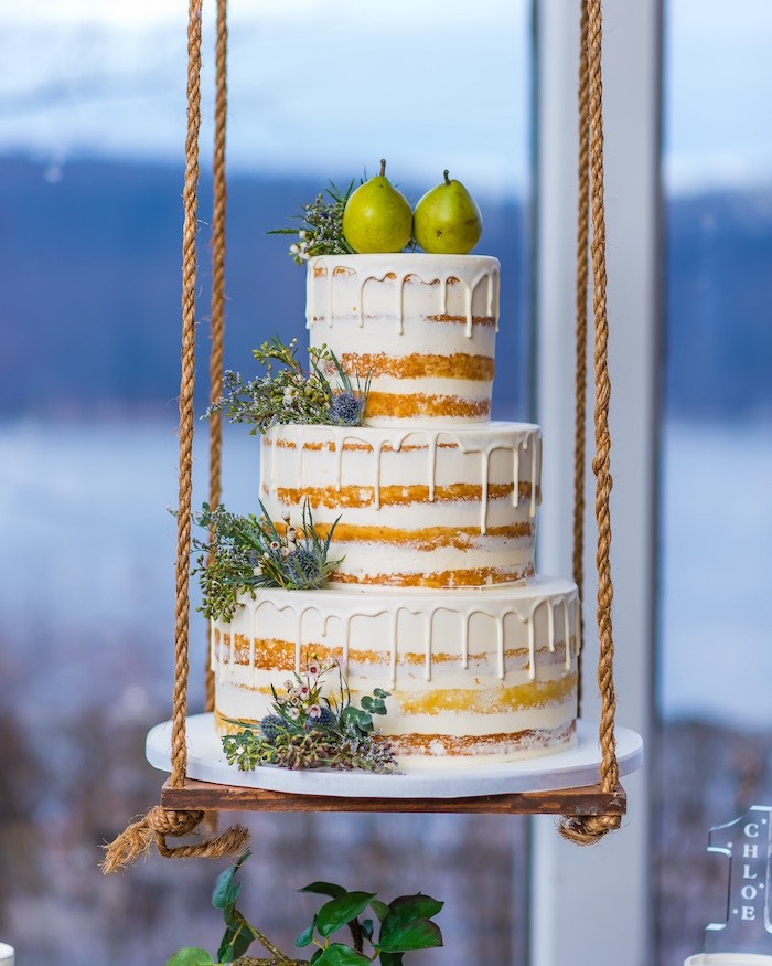 "Pear-topped Naked Drip Cake from a ""A Perfect Pair"" Rustic Birthday Party for Twins on Kara's Party Ideas 