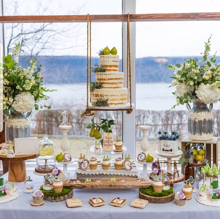 "Pear Themed Dessert Table from ""A Perfect Pair"" Rustic Birthday Party for Twins on Kara's Party Ideas 