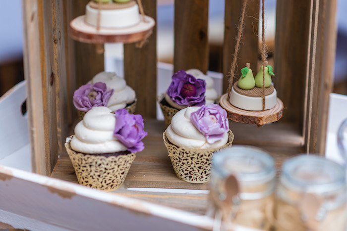 "Purple Flower Cupcakes + Pear Oreos from ""A Perfect Pair"" Rustic Birthday Party for Twins on Kara's Party Ideas 