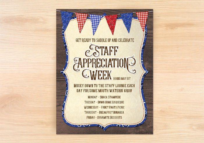 "Staff Appreciation Week - Flyer + Invitation from a ""Best in the West"" Teacher & Staff Appreciation Week Party on Kara's Party Ideas 
