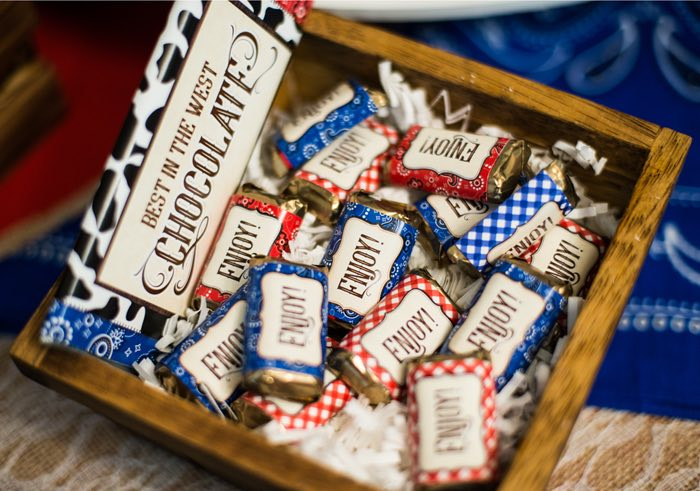 "Western Themed Candy Bar Wrappers from a ""Best in the West"" Teacher & Staff Appreciation Week Party on Kara's Party Ideas 