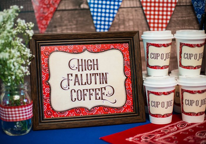 "High Falutin Coffee Sign from a ""Best in the West"" Teacher & Staff Appreciation Week Party on Kara's Party Ideas 