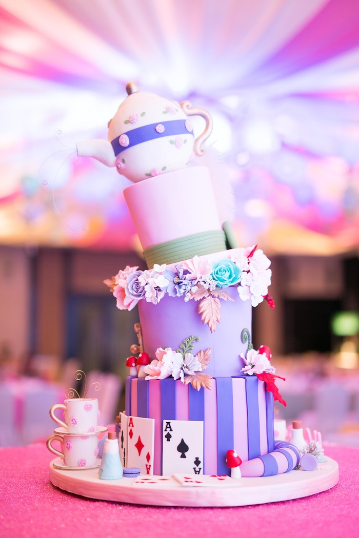 Alice in Wonderland Cake from an Alice in Wonderland First Birthday Party on Kara's Party Ideas | KarasPartyIdeas.com (23)