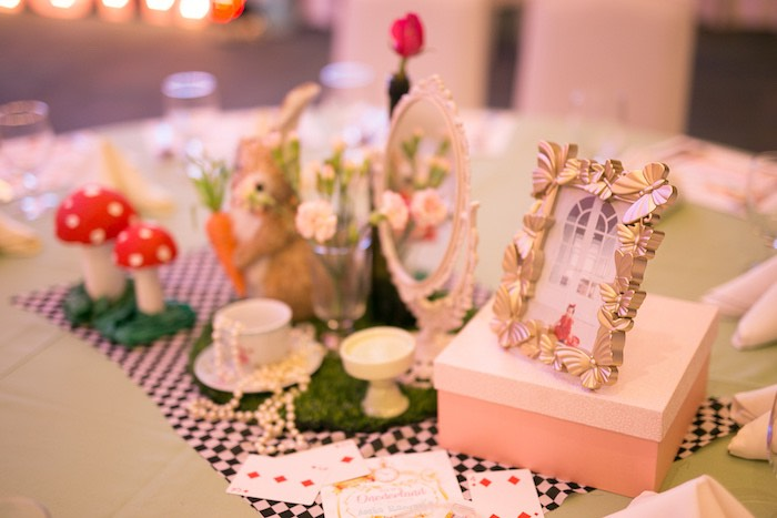 Alice in Wonderland Table Centerpieces + Decor from an Alice in Wonderland First Birthday Party on Kara's Party Ideas | KarasPartyIdeas.com (22)