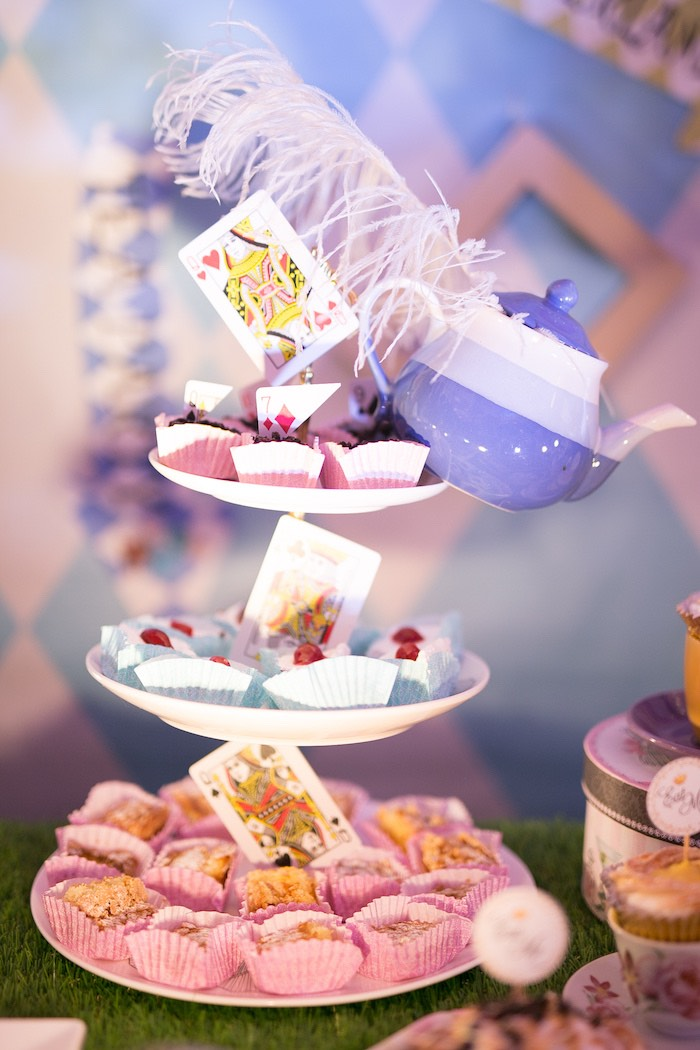Playing Card + Tea Kettle Sweets + Sweet Pedestal from an Alice in Wonderland First Birthday Party on Kara's Party Ideas | KarasPartyIdeas.com (19)