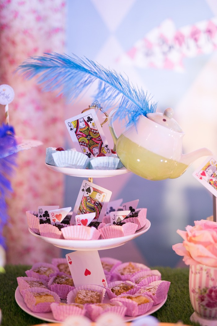 Playing Card + Tea Kettle Sweets + Sweet Pedestal from an Alice in Wonderland First Birthday Party on Kara's Party Ideas | KarasPartyIdeas.com (18)