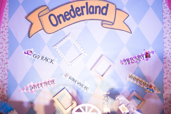 Onderland Frame Backdrop from an Alice in Wonderland First Birthday Party on Kara's Party Ideas | KarasPartyIdeas.com (17)