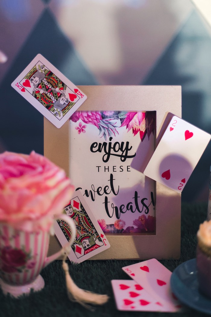 Treat Signage adorned with Playing Cards from an Alice in Wonderland First Birthday Party on Kara's Party Ideas | KarasPartyIdeas.com (12)