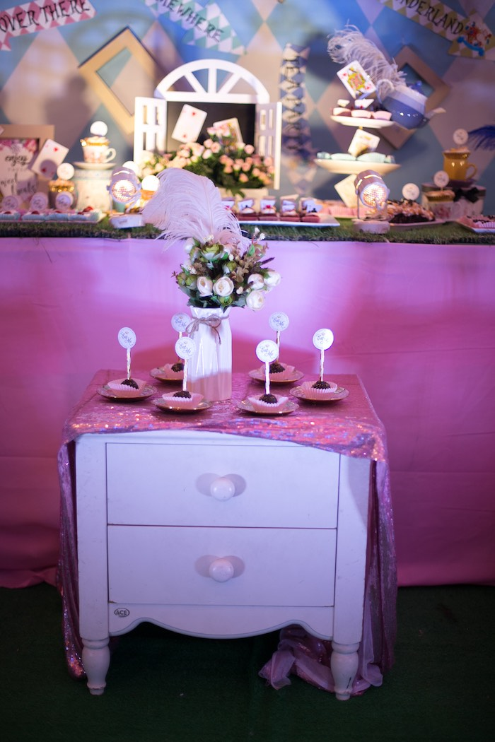 Sweet Table from an Alice in Wonderland First Birthday Party on Kara's Party Ideas | KarasPartyIdeas.com (11)