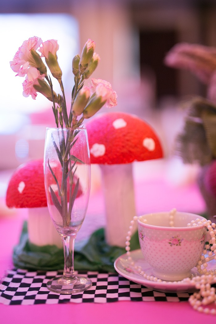 Wine Glass Blooms from an Alice in Wonderland First Birthday Party on Kara's Party Ideas | KarasPartyIdeas.com (5)