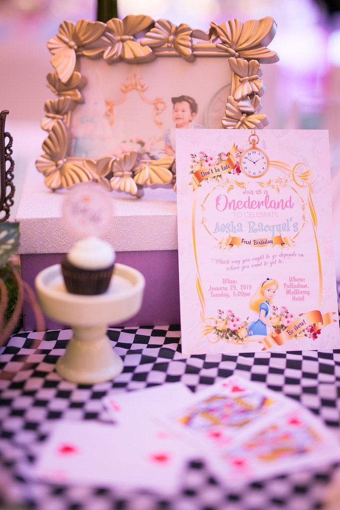 Alice in Wonderland Party Invite from an Alice in Wonderland First Birthday Party on Kara's Party Ideas | KarasPartyIdeas.com (4)