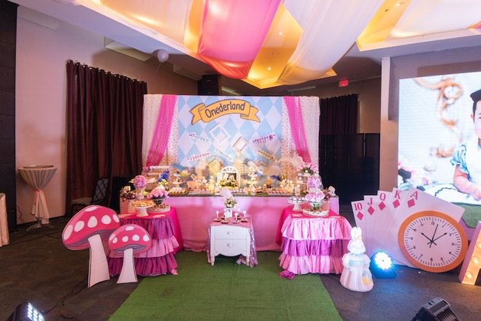 Alice in Wonderland Party Table from an Alice in Wonderland First Birthday Party on Kara's Party Ideas | KarasPartyIdeas.com (29)