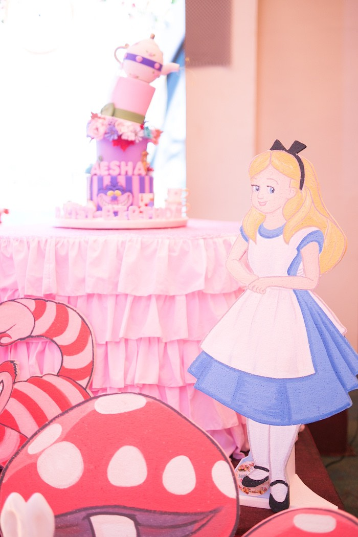 Alice in Wonderland Cake Table from an Alice in Wonderland First Birthday Party on Kara's Party Ideas | KarasPartyIdeas.com (28)