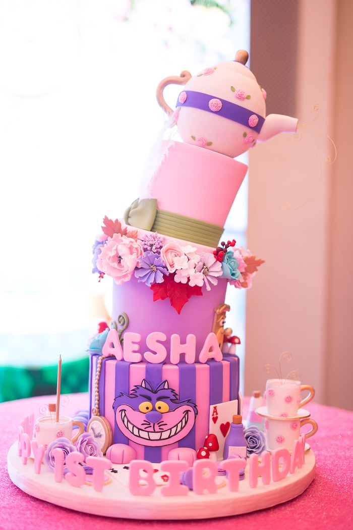 Alice in Wonderland Birthday Cake from an Alice in Wonderland First Birthday Party on Kara's Party Ideas | KarasPartyIdeas.com (27)
