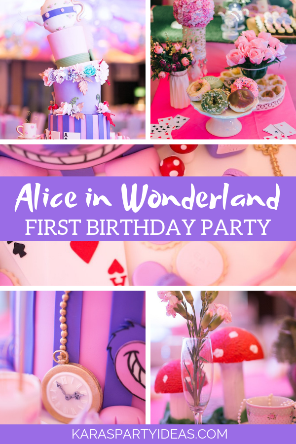 Alice in Wonderland First Birthday Party via Kara's Party Ideas - KarasPartyIdeas.com
