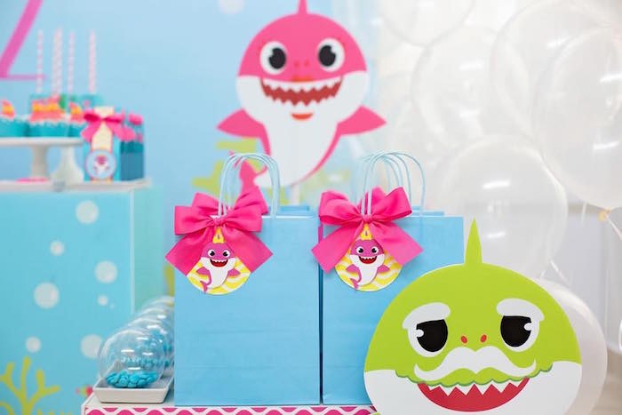 Baby Shark Gift Bags from a Baby Shark Birthday Party on Kara's Party Ideas | KarasPartyIdeas.com (14)