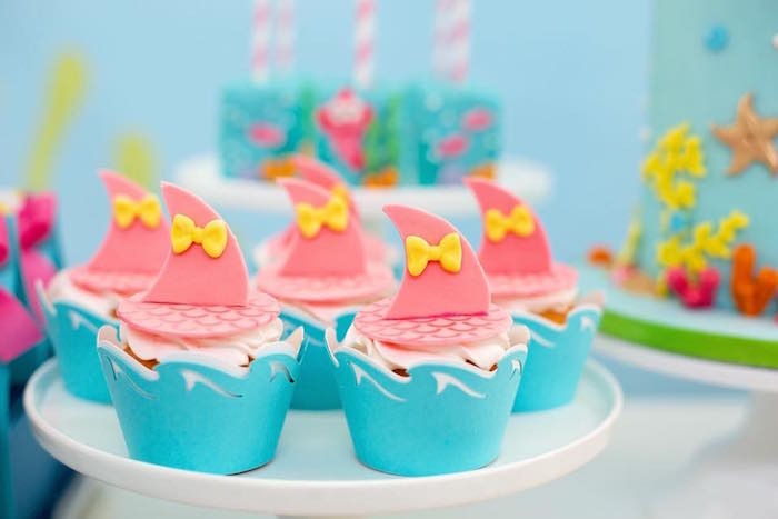 Pink Baby Shark Fin Cupcakes from a Baby Shark Birthday Party on Kara's Party Ideas | KarasPartyIdeas.com (8)