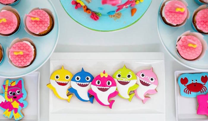 Baby Shark Cookies from a Baby Shark Birthday Party on Kara's Party Ideas | KarasPartyIdeas.com (7)