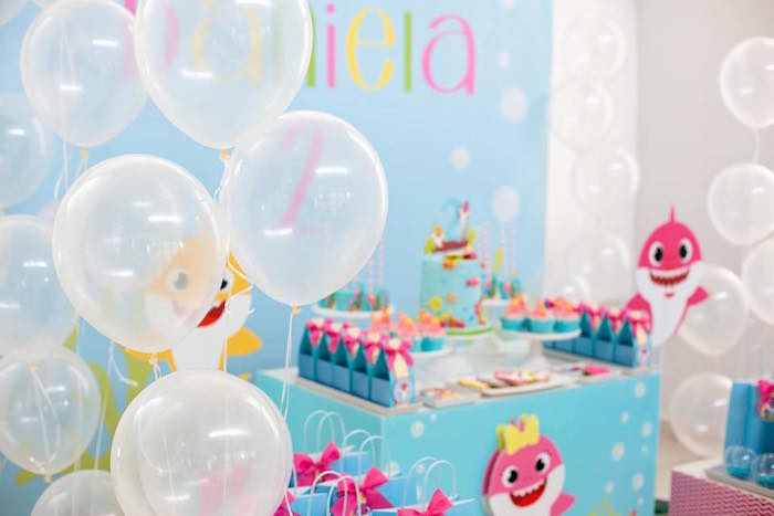 "White ""Bubble"" Balloons from a Baby Shark Birthday Party on Kara's Party Ideas 