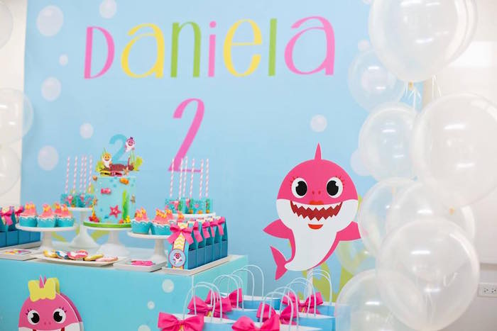 Baby Shark Themed Dessert Table Backdrop from a Baby Shark Birthday Party on Kara's Party Ideas | KarasPartyIdeas.com (22)