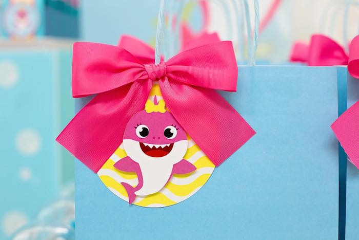 Pink Baby Shark Gift Tag Bow from a Baby Shark Birthday Party on Kara's Party Ideas | KarasPartyIdeas.com (21)