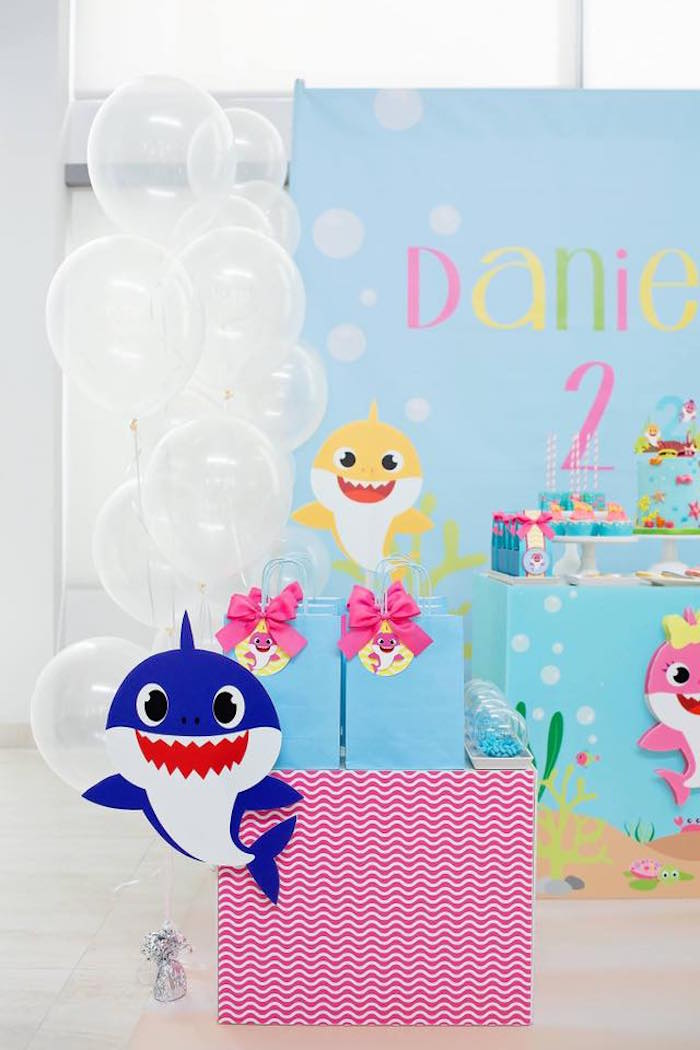 Baby Shark Gift Bag Pedestal Box from a Baby Shark Birthday Party on Kara's Party Ideas | KarasPartyIdeas.com (20)