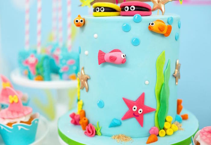 Under the Sea Cake from a Baby Shark Birthday Party on Kara's Party Ideas | KarasPartyIdeas.com (15)