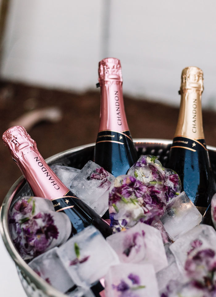 Bubbly with Floral Ice from a Backyard Summer Fling on Kara's Party Ideas | KarasPartyIdeas.com (9)