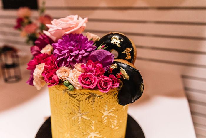 Doughnut-adorned Floral Arrangement from a Backyard Summer Fling on Kara's Party Ideas | KarasPartyIdeas.com (7)