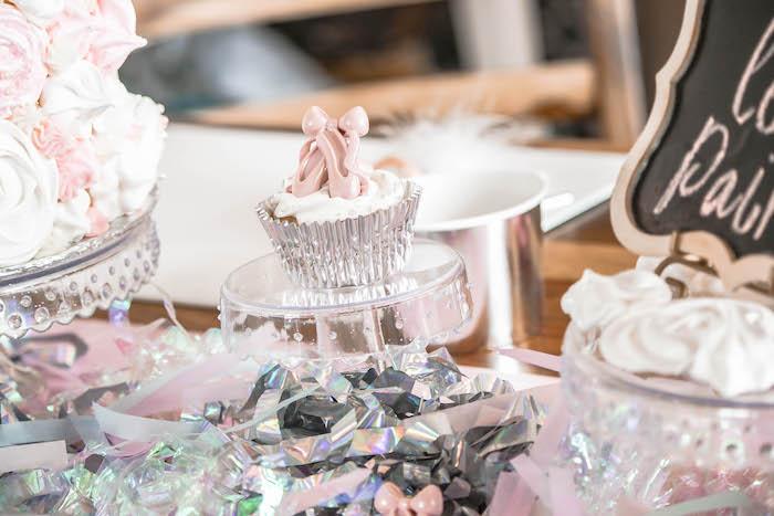 Ballet Shoe Cupcake + Tinsel Table from a Ballerina Birthday Party on Kara's Party Ideas | KarasPartyIdeas.com (12)