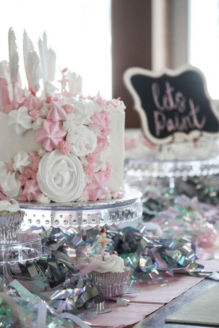 Tinsel Cake Table from a Ballerina Birthday Party on Kara's Party Ideas | KarasPartyIdeas.com (9)
