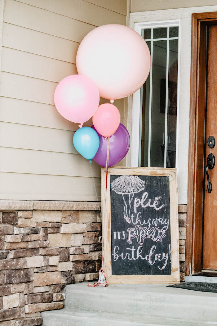 Plie this way - welcome sign from a Ballerina Birthday Party on Kara's Party Ideas | KarasPartyIdeas.com (5)