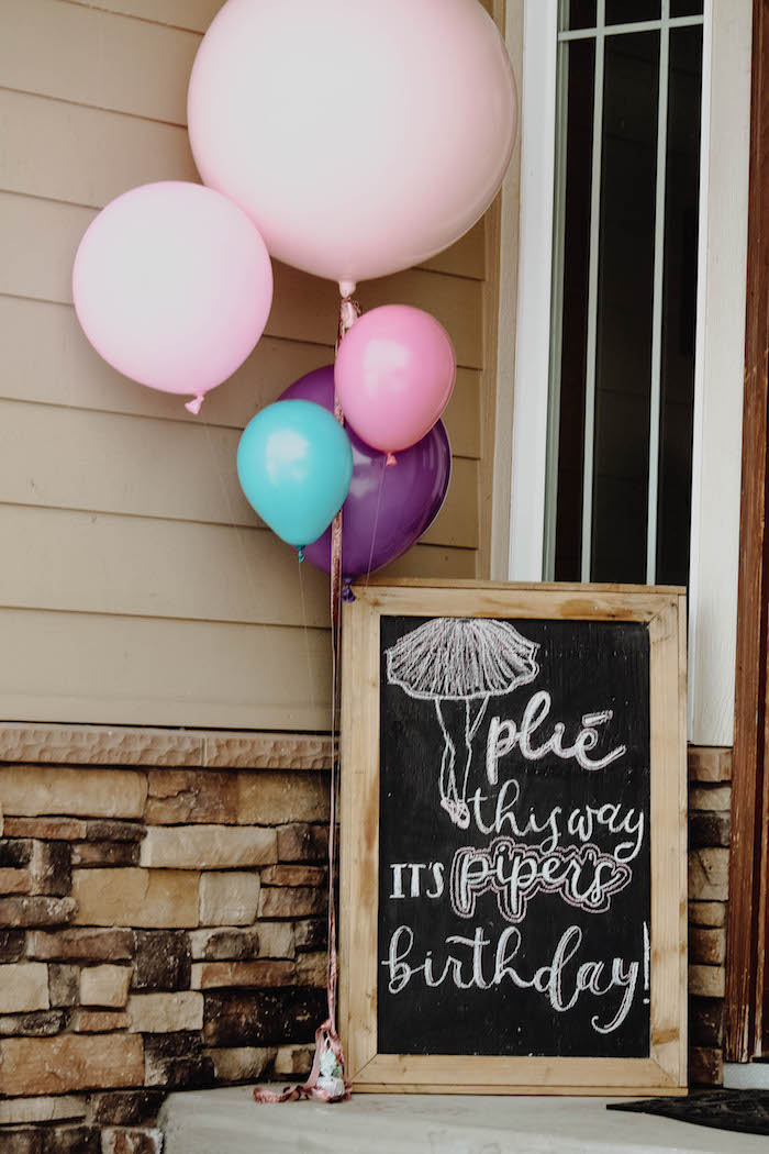 Plie this way - welcome sign from a Ballerina Birthday Party on Kara's Party Ideas | KarasPartyIdeas.com (4)