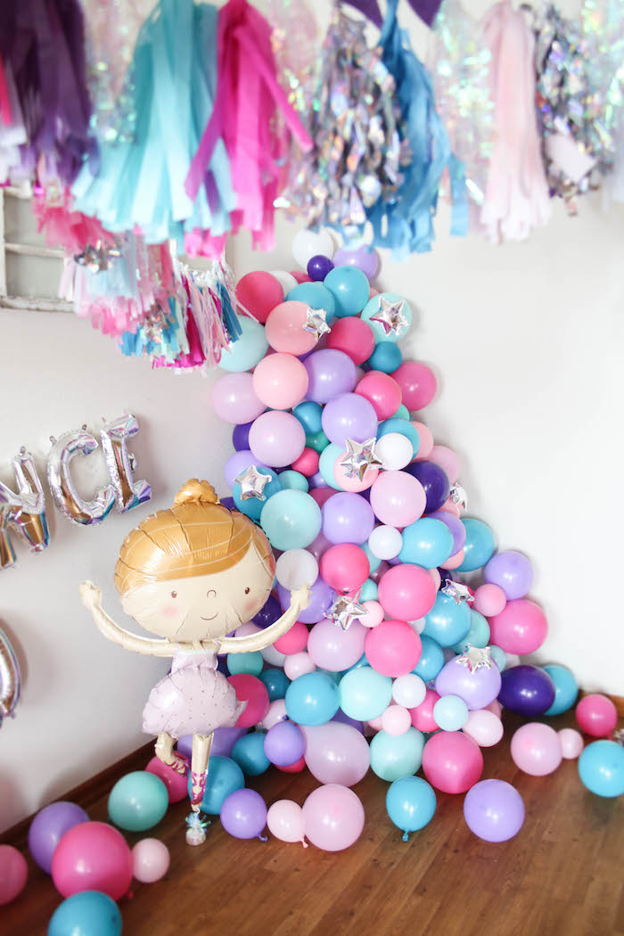 Ballerina + Star Balloon Installation from a Ballerina Birthday Party on Kara's Party Ideas | KarasPartyIdeas.com (25)