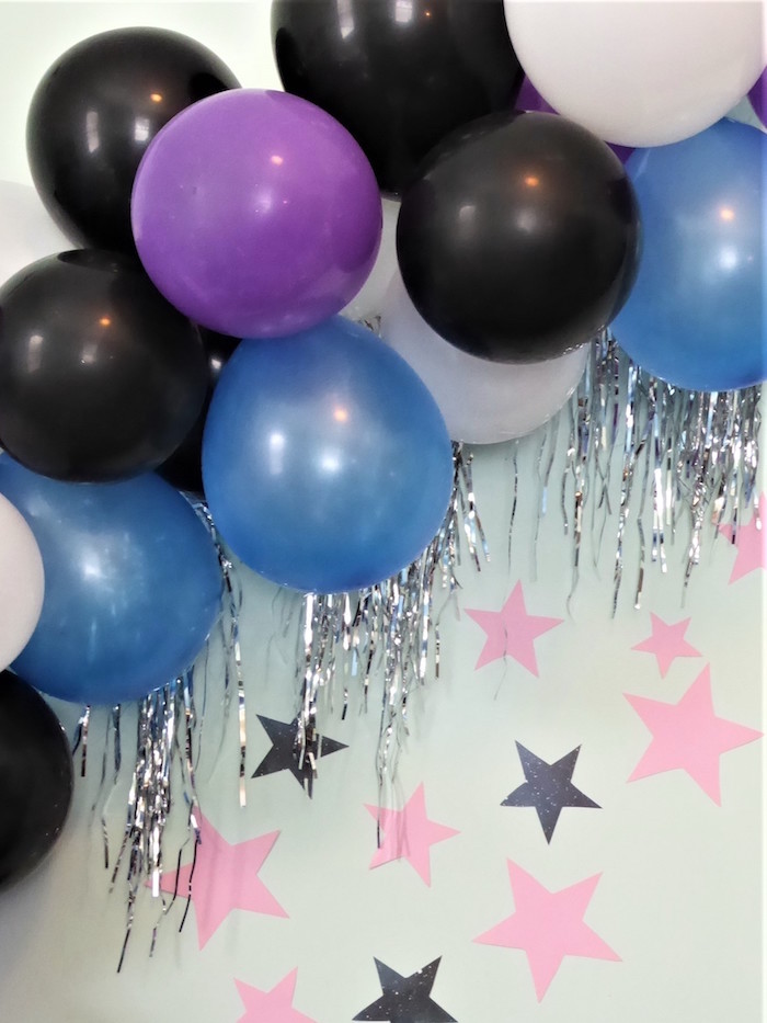 Galaxy Themed Balloon Garland from a Twinkling Star Galaxy Party on Kara's Party Ideas | KarasPartyIdeas.com