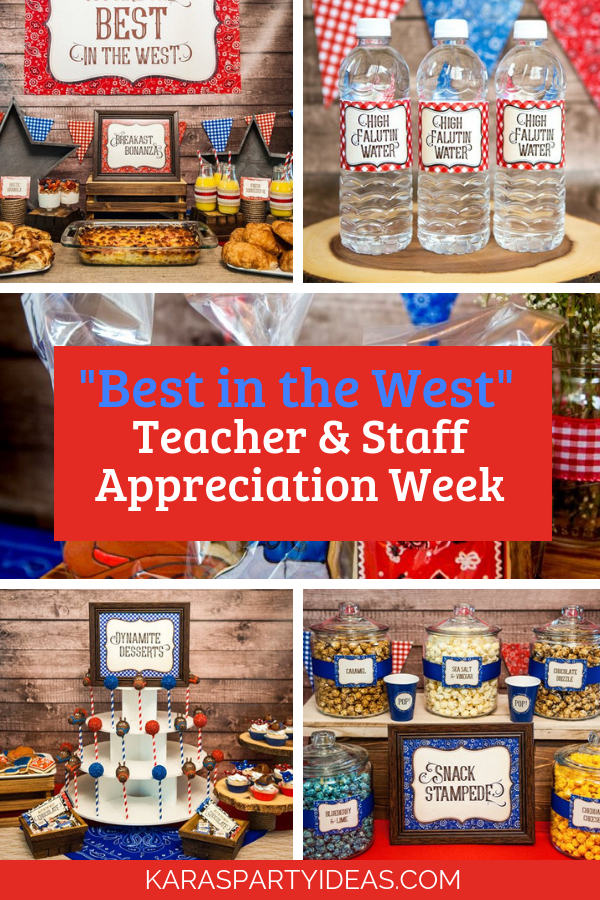 Best in the West Teacher Staff Appreciation Week via Kara's Party Ideas - KarasPartyIdeas.com