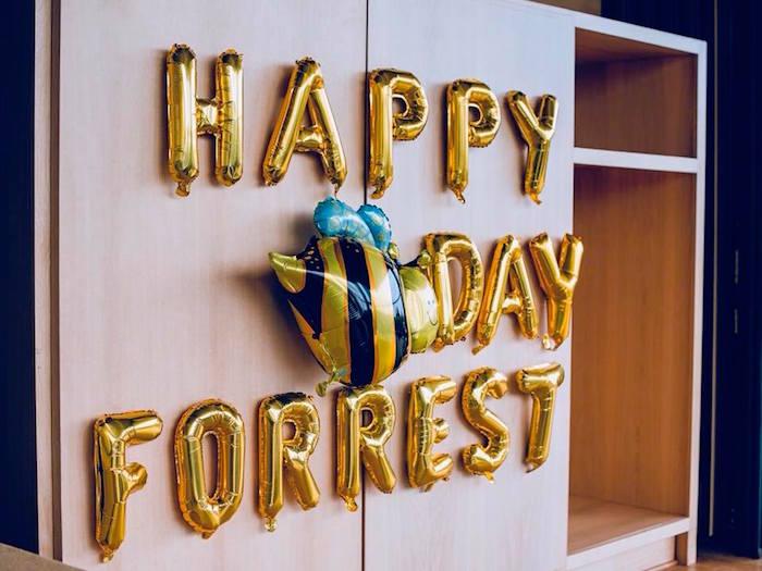 Gold Mylar Balloon Banner from a Birthday Bug Bash on Kara's Party Ideas | KarasPartyIdeas.com (20)