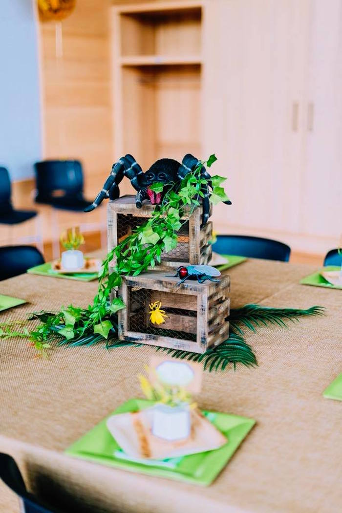 Bug Themed Kid Table + Table Centerpiece from a Birthday Bug Bash on Kara's Party Ideas | KarasPartyIdeas.com (6)