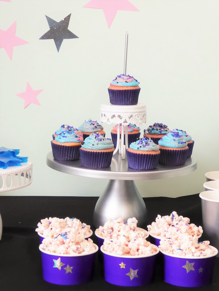 Star Popcorn + Cupcakes from a Twinkling Star Galaxy Party on Kara's Party Ideas | KarasPartyIdeas.com