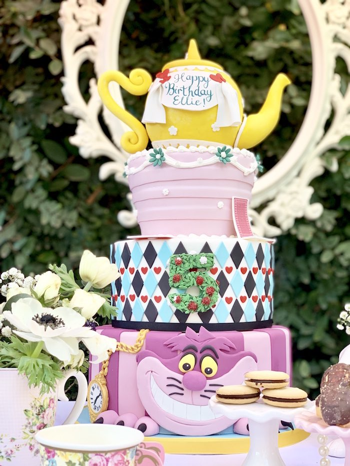 Fabulous ALICE IN WONDERLAND CAKE from an Alice in Wonderland Birthday Tea Party on Kara's Party Ideas | KarasPartyIdeas.com